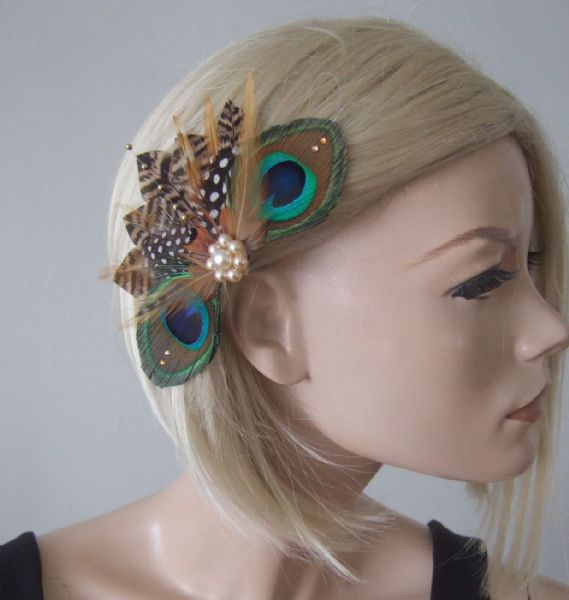 "Peacock Pheasant Brown Cream Nudes Feathers Fascinator Hair Clip ""Lavina"""